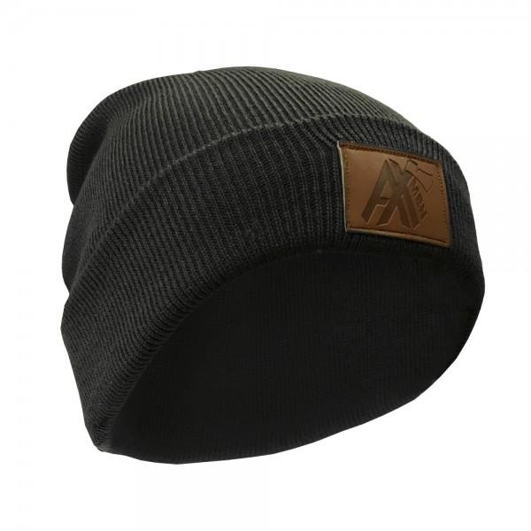AX-MEN Strickmütze mit Lederpatch, schwarz