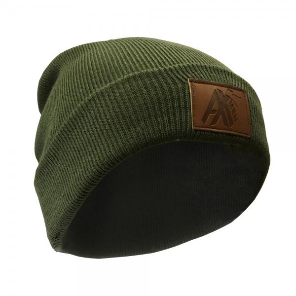 AX-MEN Strickmütze mit Lederpatch, olivgrün